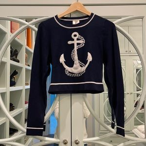 Cropped Anchor Sweater